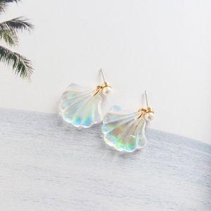 Jewelry - Mermaid Rainbow Resin Seashell Pearl Stud Earrings